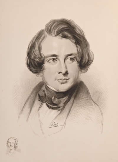 Sketch of Charles Dickens in 1842