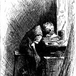 Illustration by Fred Bernard of young Charles Dickens at work in a shoe-blacking factory. (from the 1892 edition of Forster's Life of Dickens)