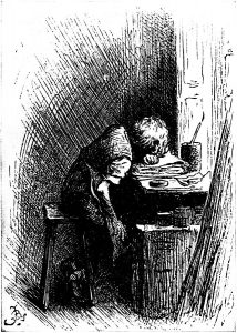 Dickens at work in a shoe-blacking factory