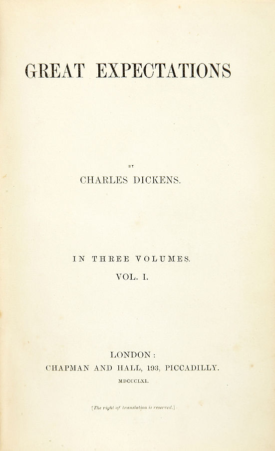 Title page of first edition of Great Expectations