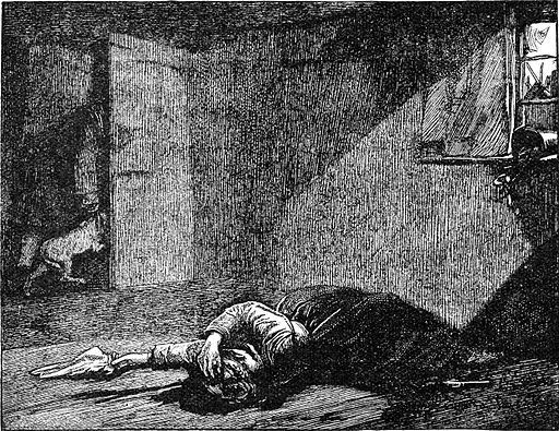 Nancy lying dead, by James Mahoney