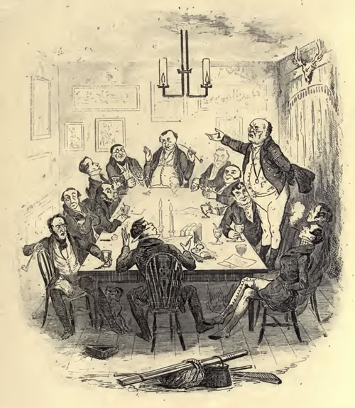 A meeting of the Pickwick Club